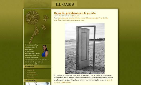 """Antiguo diseño del blog """"El oasis"""""""