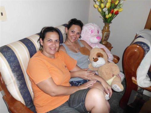 Mi hija y yo junto a Felpilín y su amiguita Rosadita