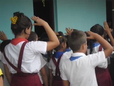 Los alumnos de la escuela Raúl Pujol en Pinar del Río